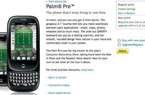 Palm Pre now available from Sprint online, activity avoided