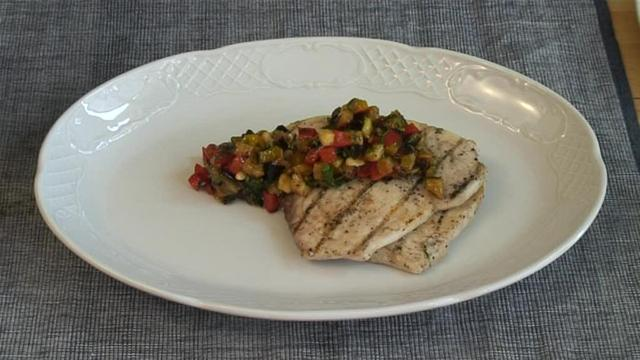 How To Make Grilled Swordfish With Grilled Vegetable Relish