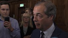 Nigel Farage reacts to a strong night for the Brexit Party in EU elections