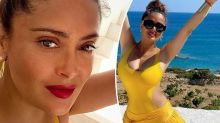 Salma Hayek, 54, stuns in yellow cut-out swimsuit