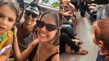 Gente como a gente! Deborah Secco e Hugo Moura vibram com a filha andando de metrô