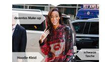Look des Tages: Winnie Harlow in schimmerndem Hoodie-Kleid und Glitzer-Stiefeln