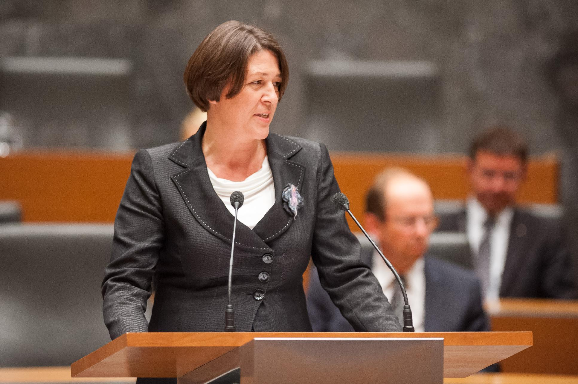 A photo taken on September 18, 2014 shows Violeta Bulc, Development, Strategic Projects and Cohesion minister, in Ljubljana, Slovenia
