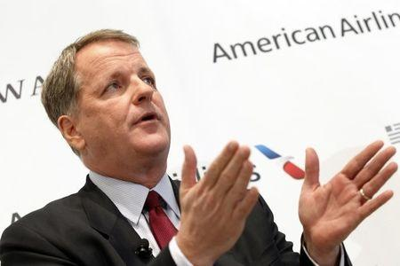 U.S. Airways CEO Doug Parker announces the planned merger of AMR Corp, the parent of American Airlines in Dallas
