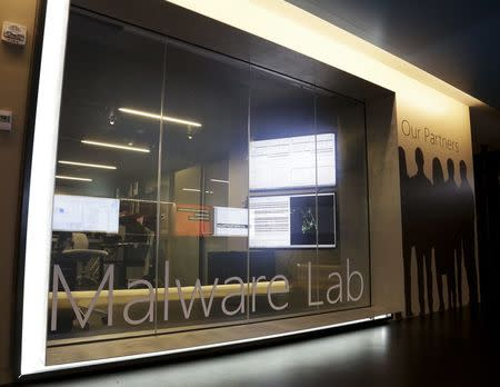 File photo of a malware lab is pictured inside the Microsoft Cybercrime Center in Redmond, Washington