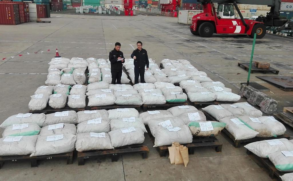 Customs officers stand guard over seized pangolin scales at a port in Shanghai (AFP Photo/)