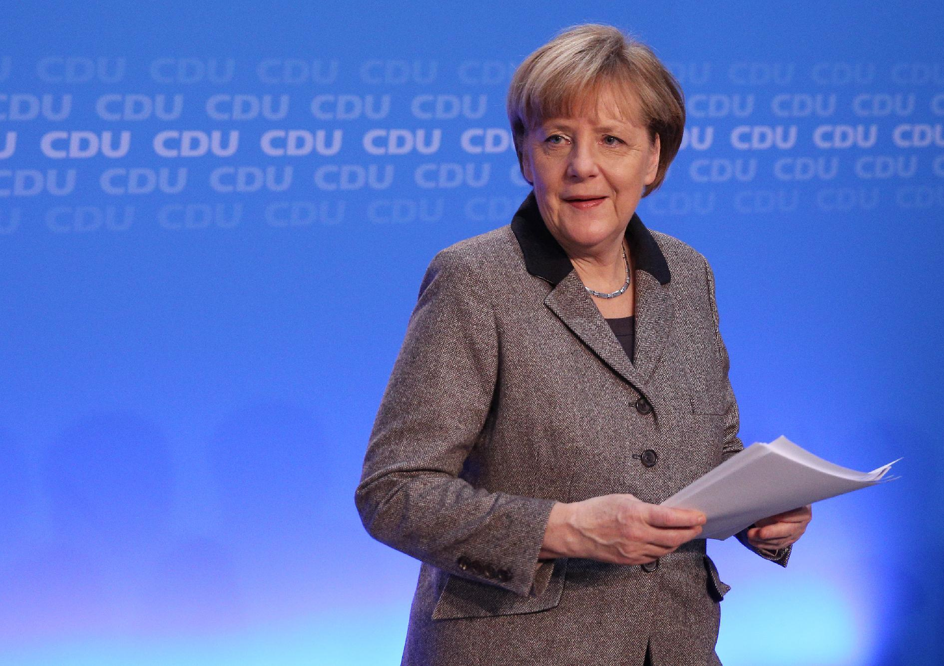 German Chancellor Angela Merkel attends a press conference after a conference with board members of her conservative Christian Democratic Union (CDU) party in Hamburg, northern Germany, on January 10, 2015