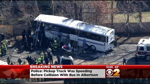 1 Dead, 2 Hurt After Coach USA Bus, Pick-Up Truck Collide On Long Island