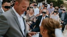 Guests wear eye masks during blind bride's wedding for special reason