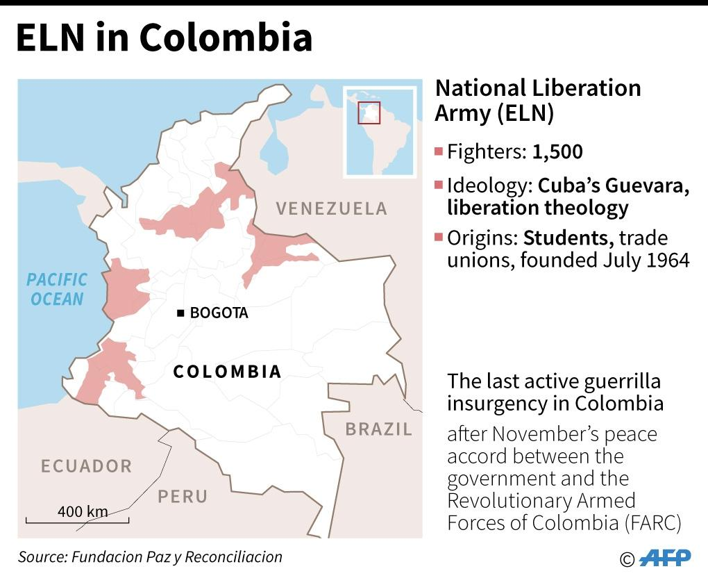 Factfile on National Liberation Army (ELN) in Colombia, including map of areas of influence (AFP Photo/Nicolas RAMALLO, Gustavo IZUS)