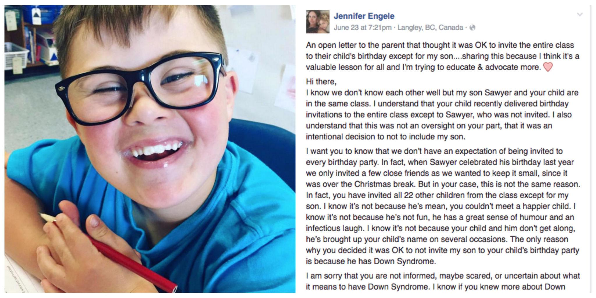 Mom writes a powerful letter after her son was excluded from a mom writes a powerful letter after her son was excluded from a birthday party because he has down syndrome stopboris Image collections