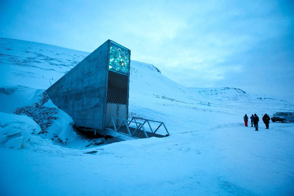 Nothing betrays the presence of the storage site so vital to humanity, apart from its monumental entrance (AFP Photo/Heiko JUNGE)