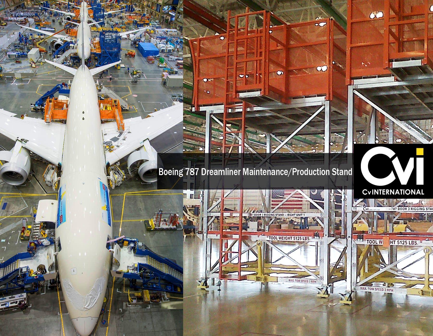 cv international releases boeing 787 dreamliner maintenance  production stand to charleston  sc