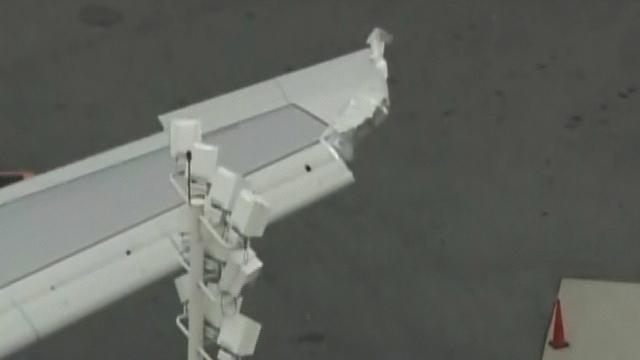 Plane collision damages Airbus A380's wing