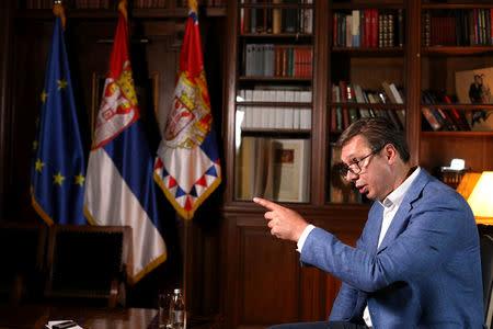 Serbian President Aleksandar Vucic speaks during an interview with Reuters in Belgrade, Serbia, September 13, 2018. REUTERS/Djordje Kojadinovic
