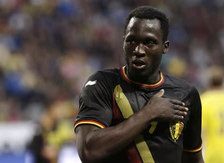 Belgium's Lukaku celebrates scoring a goal against Sweden during their international friendly soccer match in Stockholm