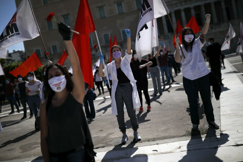 Rally commemorating May Day following the coronavirus disease (COVID-19) outbreak in Athens