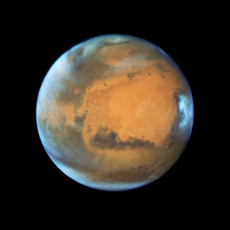 The planet Mars taken by the NASA Hubble Space Telescope when the planet was 50 million miles from Earth