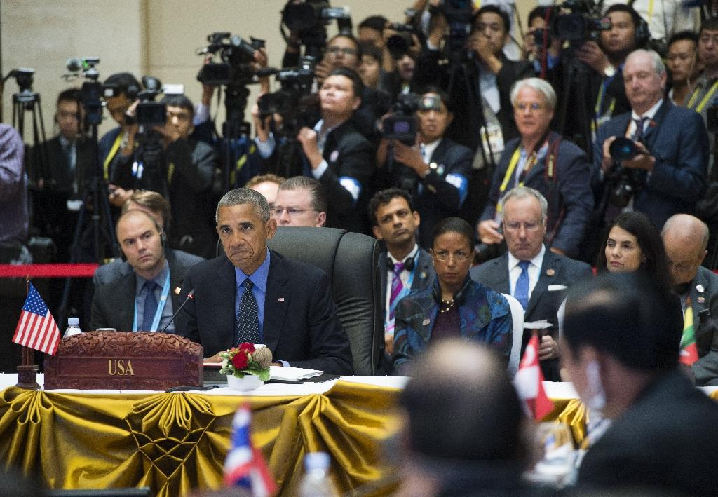 US President Barack Obama speaks during the 4th ASEAN - US Summit in Vientiane on September 8, 2016 (AFP Photo/Saul Loeb)