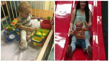 Horrifying moment toddler's leg snaps as his mum takes him down a slide