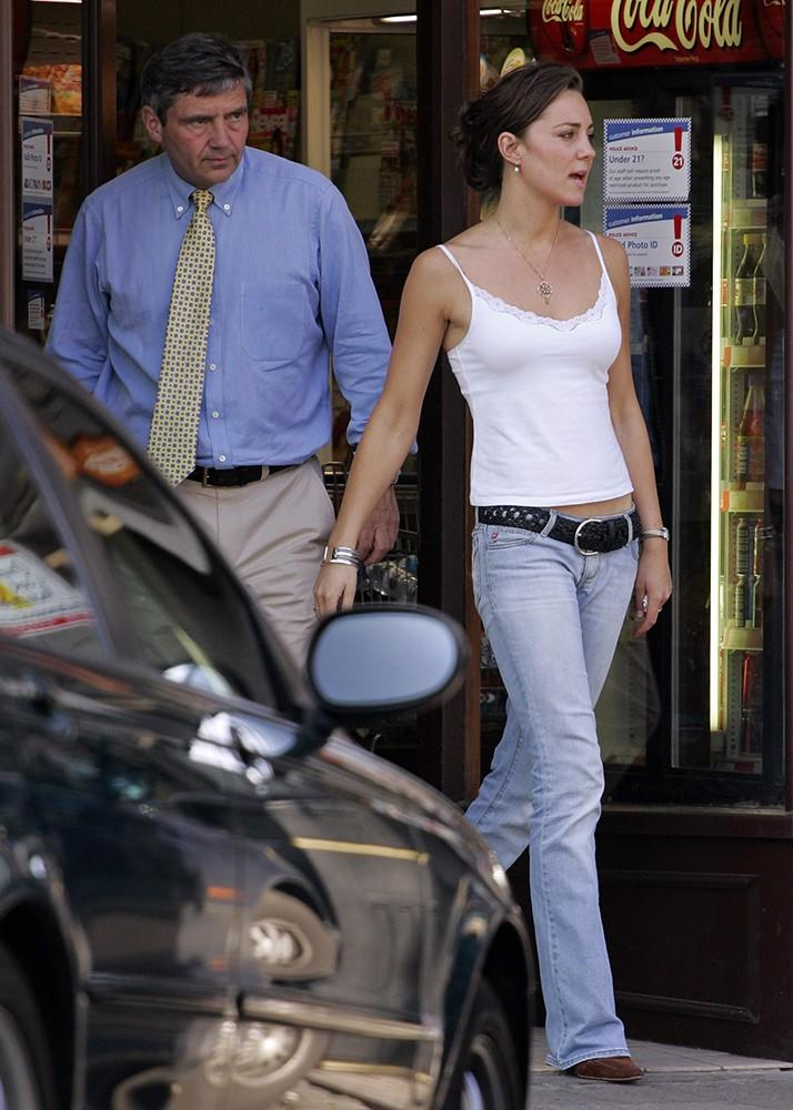 A casual Kate out and about with her father, graduation weekend.