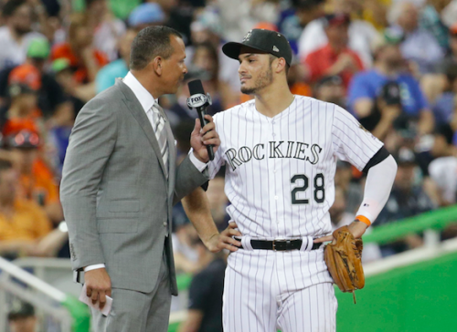 Alex Rodriguez and Nolan Arenado chatted on the field at the 2017 All-Star Game. (AP Photo)
