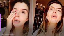 Giovanna Lancelotti chora ao mostrar incêndio perto da sua casa