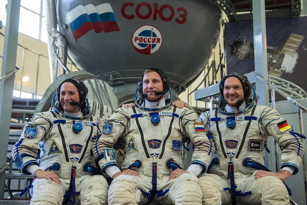 NASA astronaut Serena Aunon-Chancellor, Roscosmos cosmonaut Sergey Prokopyev and German astronaut Alexander Gerst are preparing to go to the ISS this week (AFP Photo/STR)