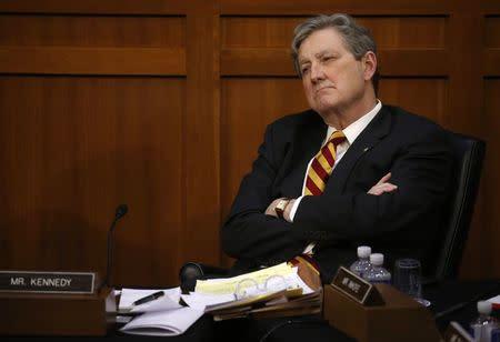 Sen. Kennedy listens as Facebook CEO Zuckerberg testifies before a U.S. Senate joint hearing on Capitol Hill in Washington