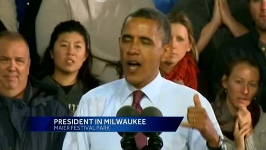 President addresses crowd in Milwaukee