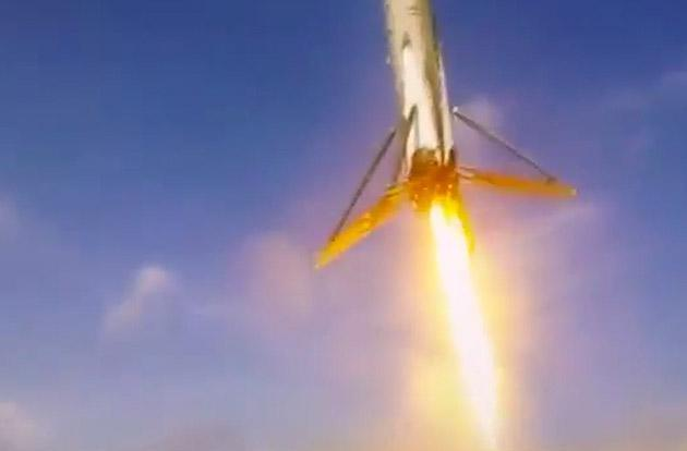 Leaked barge video shows SpaceX rocket landing up close