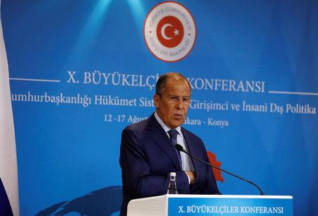 Russian Foreign Minister Sergei Lavrov attends a news conference in Ankara