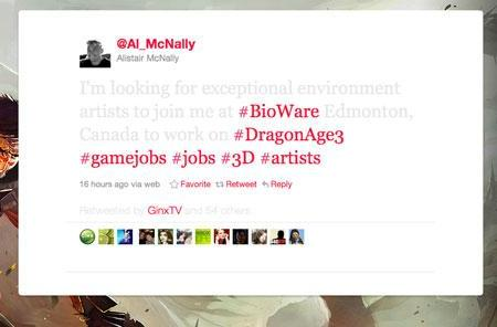 Dragon Age 3 artists wanted, Bioware sr. director tweets