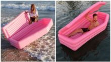 Inflatable pink coffins are the bizarre new beach trend