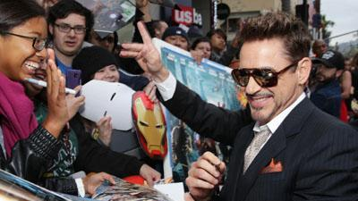 Downey Jr. Premieres 'Iron Man 3' in LA