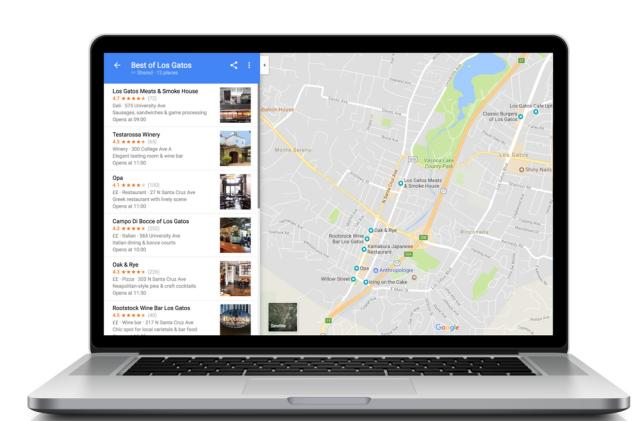 Create and share Google Maps lists on the web from your desktop