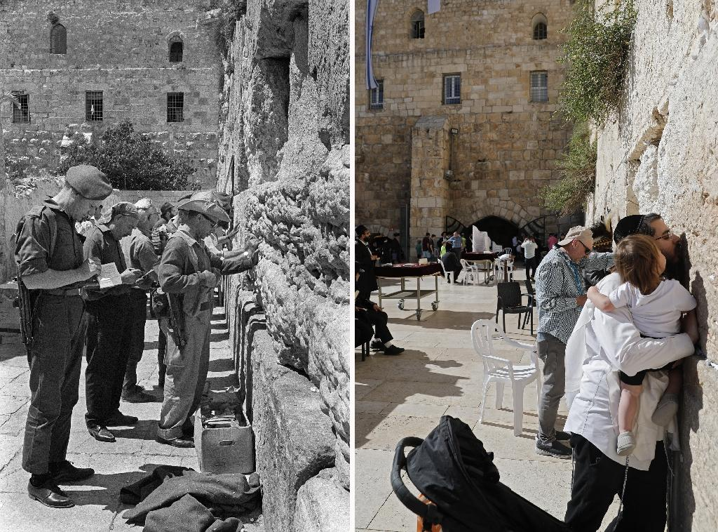 A combination of pictures shows Jewish people praying at the Western Wall in the Old City of Jerusalem during the Six-Day Arab-Israeli war of June 1967, and people praying at the same location fifty years later in May 2017