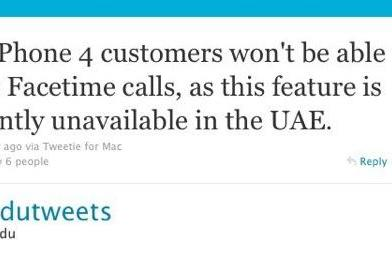Confirmed: No FaceTime in UAE, reported working in SA unless phones are updated