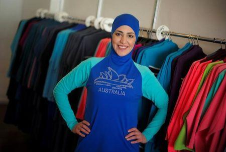 Model Salwa Elrashid models a 'burkini', designed by Lebanese-born Australian Aheda Zanetti at her fashion store in Sydney