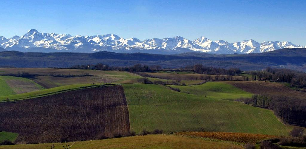 View of snow covered peaks in the Areige region of the Pyrenees Mountains that separate France and Spain, the region where scientists found deposits of air-borne plastics