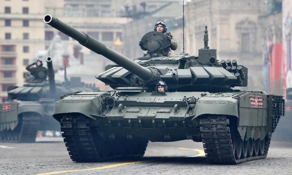 Russian tanks drive through Red Square during the Victory Day military parade in Moscow in May 2017
