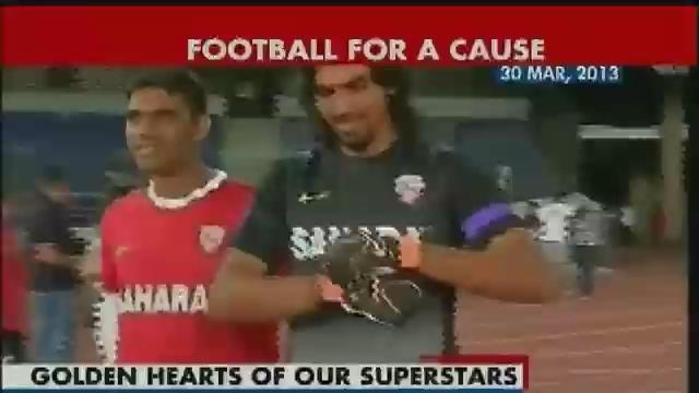Cricketers and Bollywood stars battle it out on football field for charity