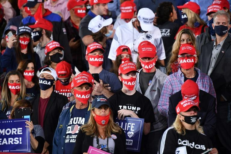 Supporters of US President Donald Trump attend a campaign rally at Pittsburgh International Airport in Moon Township, Pennsylvania