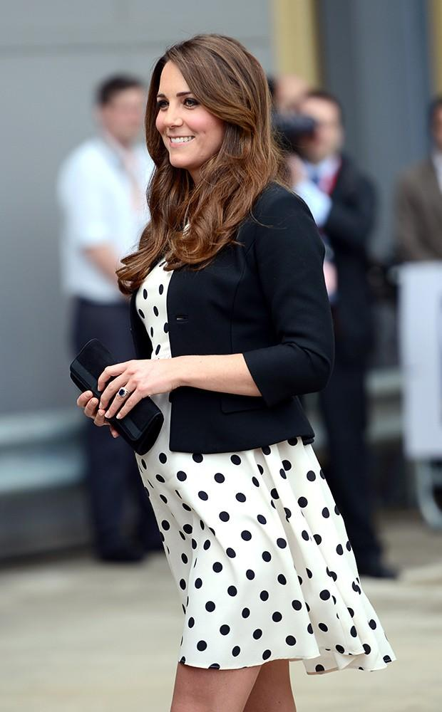 Kate visited the Harry Potter sets at Warner Bros with William and Harry, wearing in a polka-dot dress by Topshop.