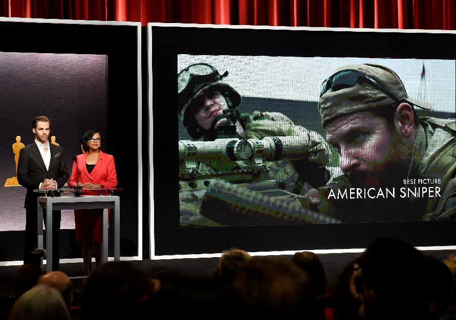 'American Sniper' is named as one of the Oscar nominees for Best Picture during the Academy Awards Nominations Announcement at the Samuel Goldwyn Theater in Beverly Hills, California, January 15, 2015