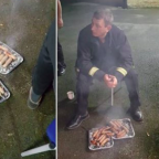 Rescued piglets given back to firefighters who saved them - as SAUSAGES
