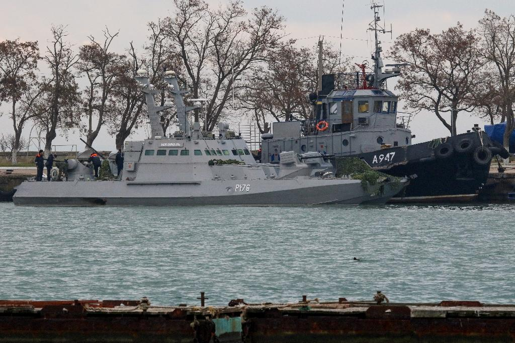 Russia fired on and seized three Ukrainian navy vessels, capturing two dozen sailors near the Kerch Strait last November as they tried to pass from the Black Sea to the Azov Sea (AFP Photo/STR)