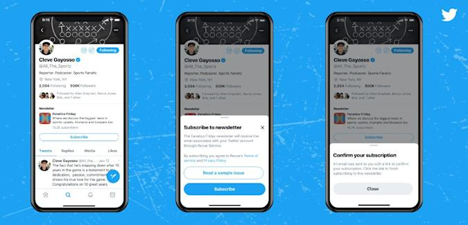 Twitter newsletter subscription button
