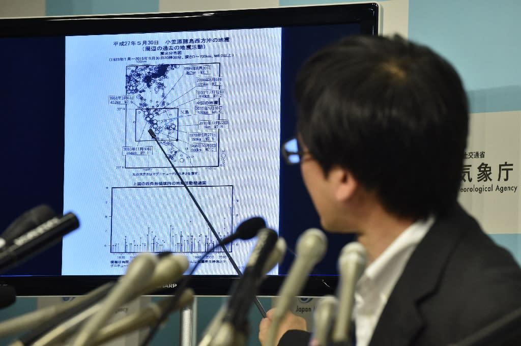 Japan's Meteorological Agency earthquake expert Koji Nakamura speaks during a press conference in Tokyo, on May 30, 2015 (AFP Photo/Kazuhiro Nogi)