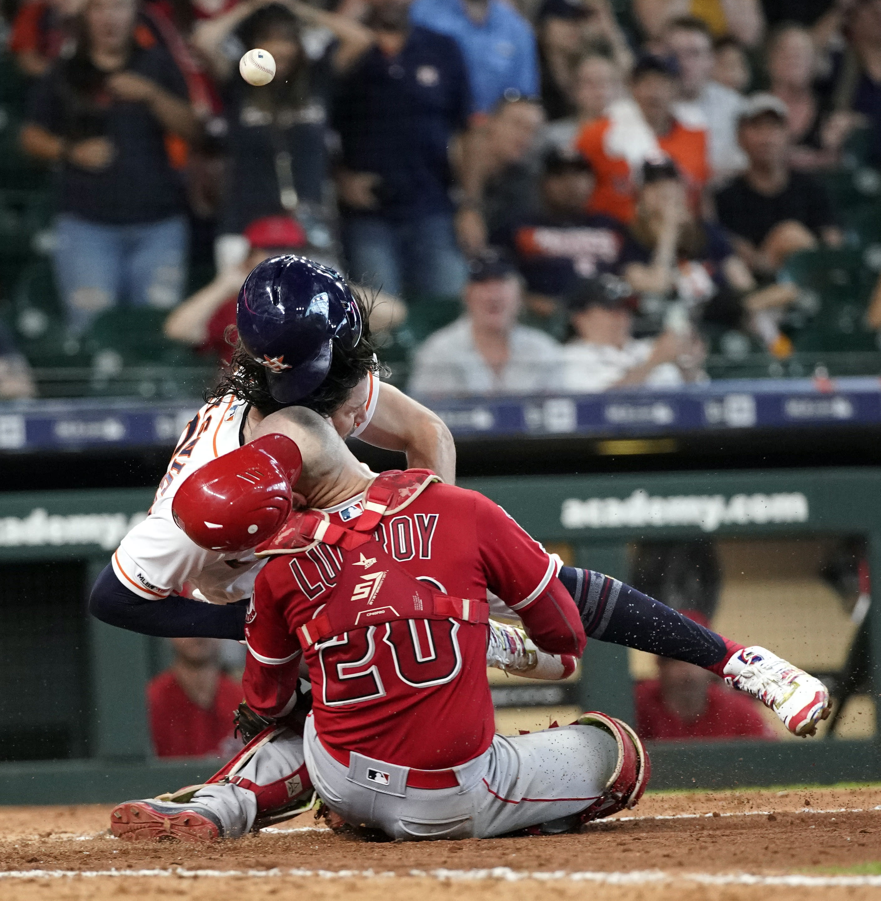 Astros' Marisnick suspended for collision that put Angels' Lucroy in hospital